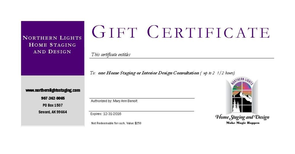 Home Staging And Design Gift Certificate