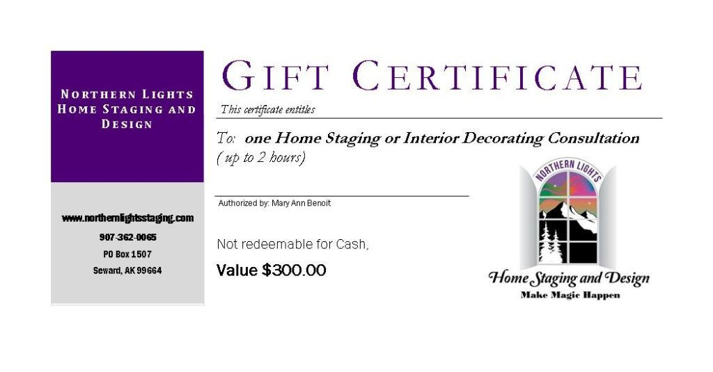 Northern Lights Home Staging and Design Gift Certificate