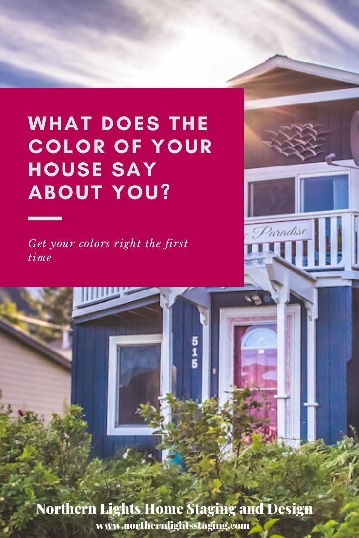 What does the color of your house say about you? Pick paint colors that tell your story. Get help from a certified color strategist that uses both the art and science of color. Northern Lights Home Staging and Design. #colorstrategist #certifiedcolorstrategist #colorfulhome #exteriorpaint #pickingpaintcolors #moscowmidnight #sherwinwilliams #forwardfucsia #bedandbreakfastdesign