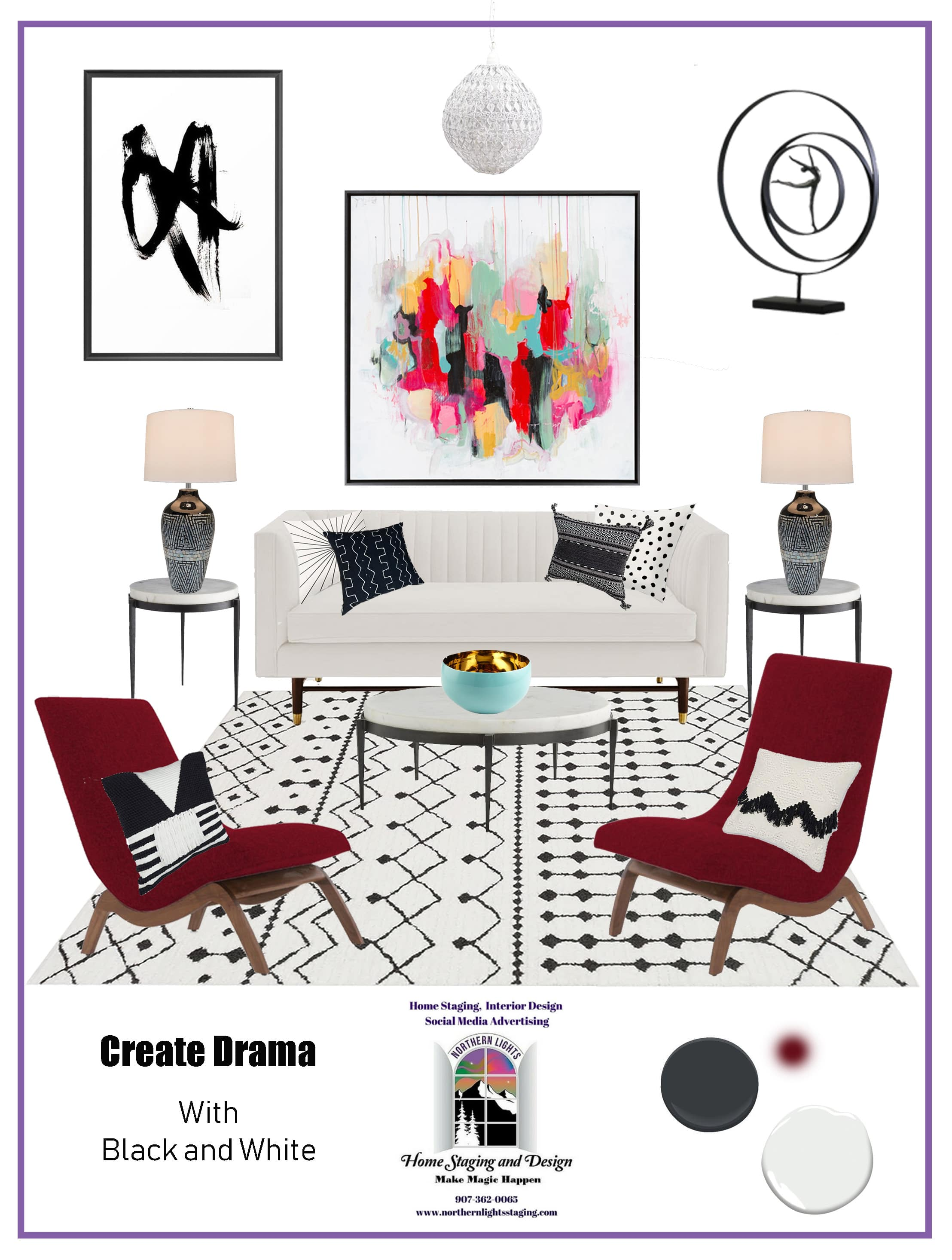 Get Dramatic with Black and White! Using black and white in your Interior Design to make the rest of our colors really pop and create drama. Edesign by Northern Lights Home Staging and Design. #color #colorconsulting #Interiordesign #edesign #bohemian #interiordecorating #paint #colors #homestyling #homedecor #homedesign #moderndecor #colorfuldecor #interiordecor #beautifulhomes #homeinspo #decorinspo #homeinspo #decorating #interiorstyle #homestyle #colorstrategy #colorconsultant #interiorpaintcolors #exteriorpaintcolors #paintingtips #colortips #interiorcolor #colorfuldecor #bohemian #global #blackandwhite #99664 #alaska # #99501 #anchorage #KenaiPeninsula