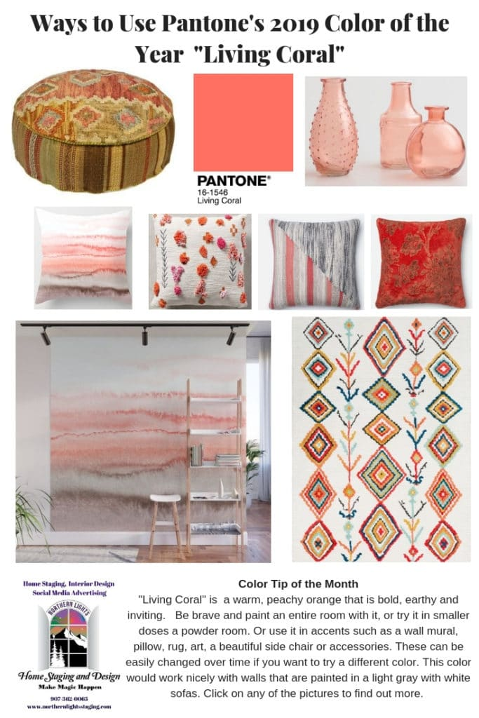 Ideas for products you can use to incorporate Living Coral- Pantone's 2019 Color of the Year into your Interior Design or decorating project. #livingcoral #color #colorconsulting #Interiordesign #edesign #bohemian #boho #interiordecorating #paint #colors #homestyling #homedecor #homedesign #moderndecor #colorfuldecor #interiordecor #decorating #interiorstyle #homestyle #colorstrategy #colorconsultant #interiorpaintcolors #exteriorpaintcolors #paintingtips #colortips #interiorcolor #colorfuldecor