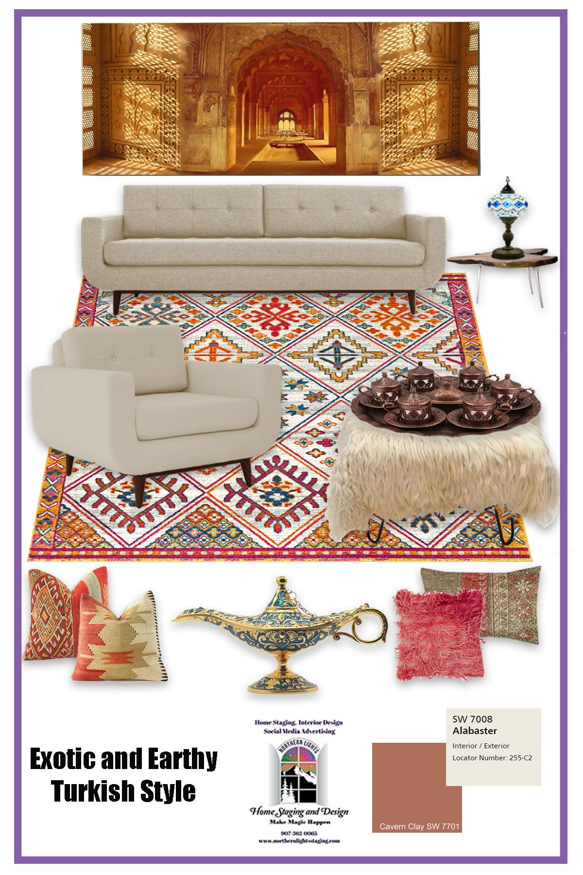 Turkish style living room moodboard using Cavern Clay. EDesign by Northern Lights Home Staging and Design.#color #colorconsulting #Interiordesign #edesign #bohemian #interiordecorating #paint #colors #homestyling #homedecor #homedesign #moderndecor #colorfuldecor #interiordecor #beautifulhomes #homeinspo #decorinspo #homeinspo #decorating #interiorstyle #homestyle #colorstrategy #colorconsultant #interiorpaintcolors #exteriorpaintcolors #paintingtips #colortips #interiorcolor #colorfuldecor #bohemian #global #99664