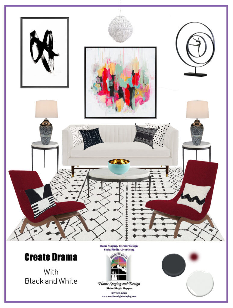 Get dramatic with Black and White. Get the look- Black and white Bohemian Style. #blackandwhite #bohemian #boho #globaldesign #interiordesign #homedecor #virtualdesign #edesign #colorfulhome