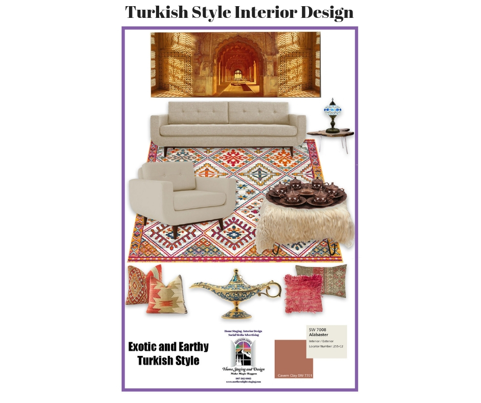 Concept board showing products used in the Turkish Style Living Room.