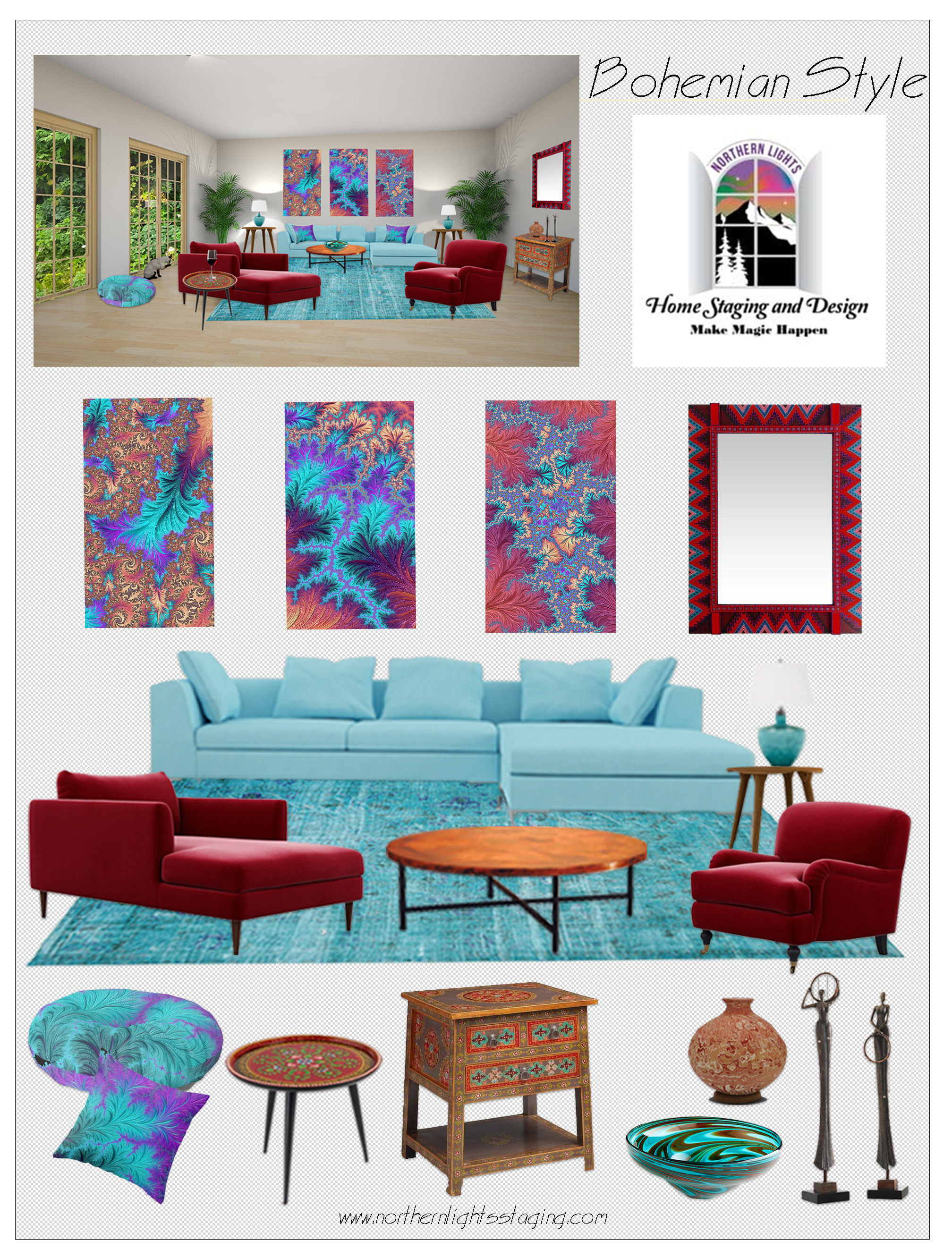 Concept Board of design elements for a Bohemian Style using one of a kind Fractal Art and Decor items by Northern Lights Home Staging and Design and eco-friendly furniture and design elements from India and Mexico.