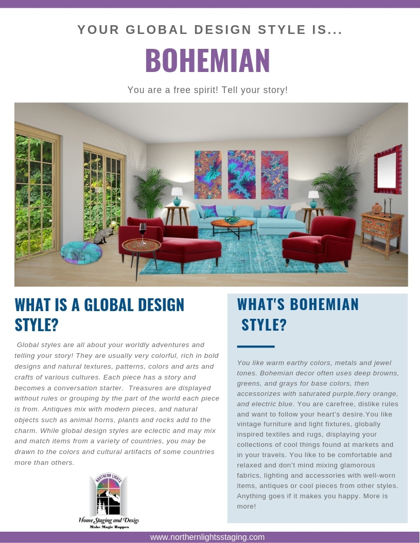 Bohemian style Interior design is a global design style. You are a free spirit. Tell your story. #bohemian #boho #interiordesign #globalstyle