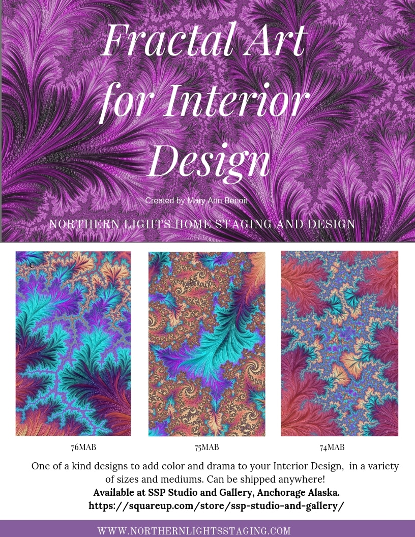 One of a kind fractal art for Interior Design by Mary Ann Benoit of Northern Lights Home Staging and Design available for sale at SSP Studio and Gallery in Anchorage AK. Shipping available everywhere.