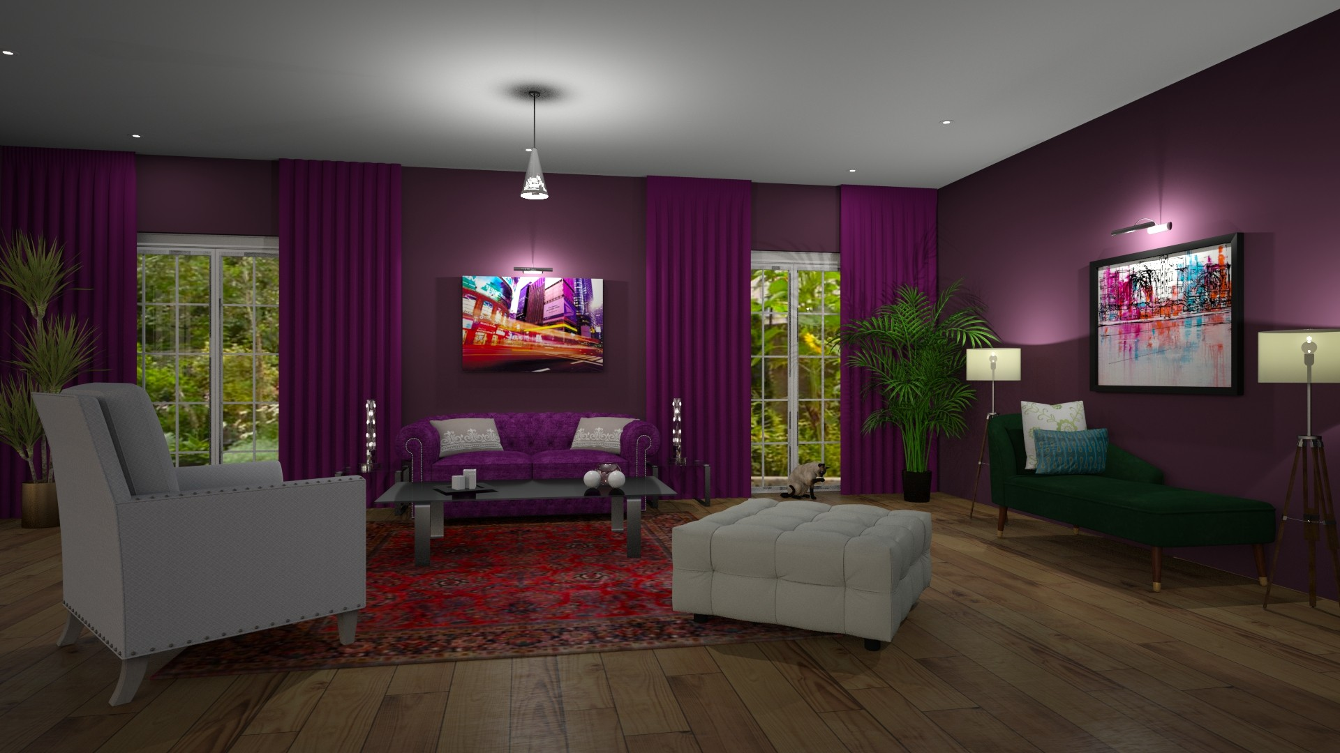 Modern Global Edesign of a Living room using Benjamin Moore Regal Select Grape Juice