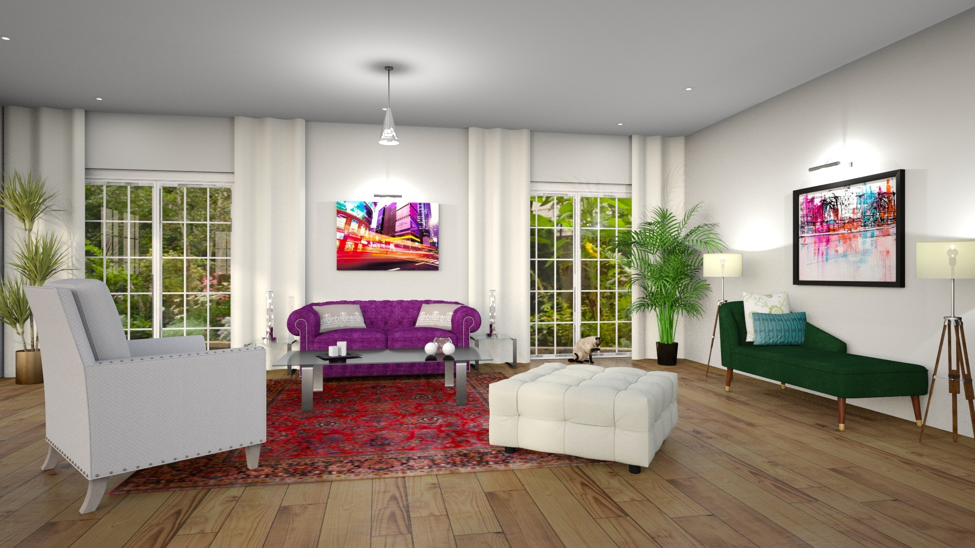 Modern Global Edesign of a Living room by Northern Lights Home Staging and Design using Benjamin Moore's Barely There.
