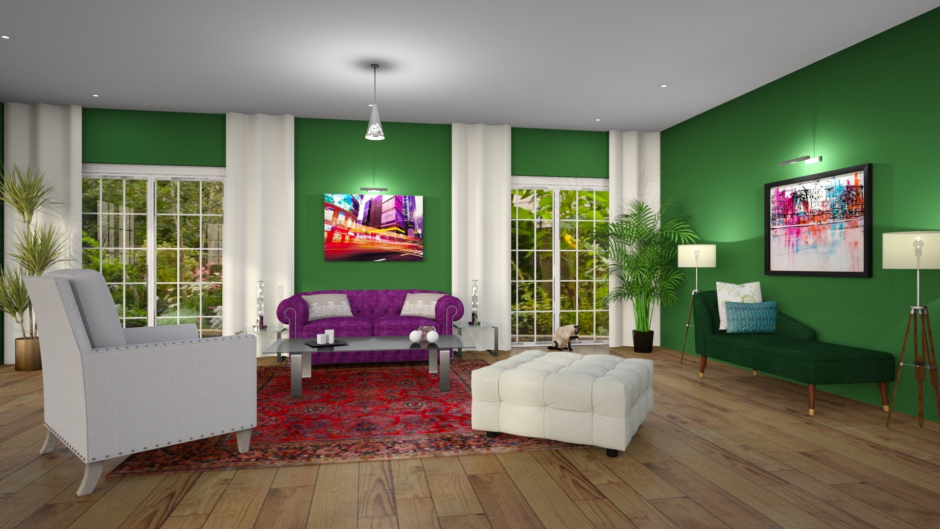Modern Global Edesign of a Living room using Benjamin Moore's Clover Green.