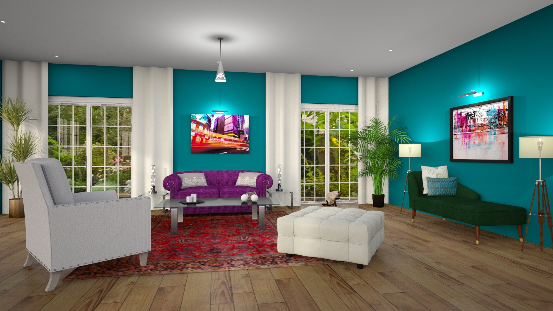 Modern Global Edesign of a Living room using Benjamin Moore's Jade Garden.