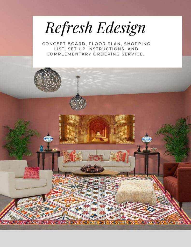 Refresh Edesign Package by Northern Lights Home Staging and Design. Concept board, floor plan, shopping list, set up instructions and complimentary ordering service. #edesign #refreshedesign #onlinedesign #interiordesign #globaldesign #colorconsulting