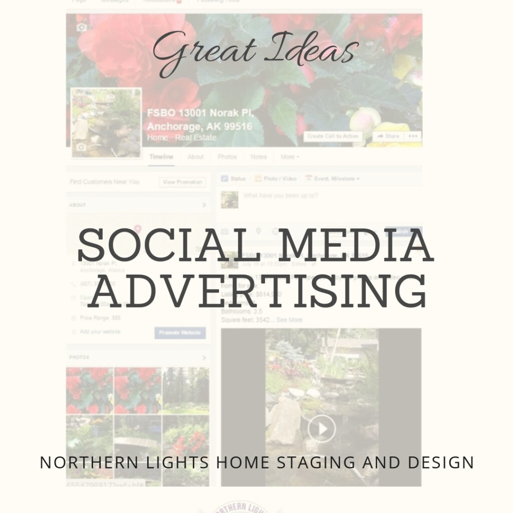 Northern Lights Home Staging and Design can stage your house and then create a great Facebook page, videos and ads with your fabulous photos to help you market your home using social media.! #homestaging #socialmedia #socialmediaadvertising #socialmediamarketing #homesalemarketing #businessmarketing