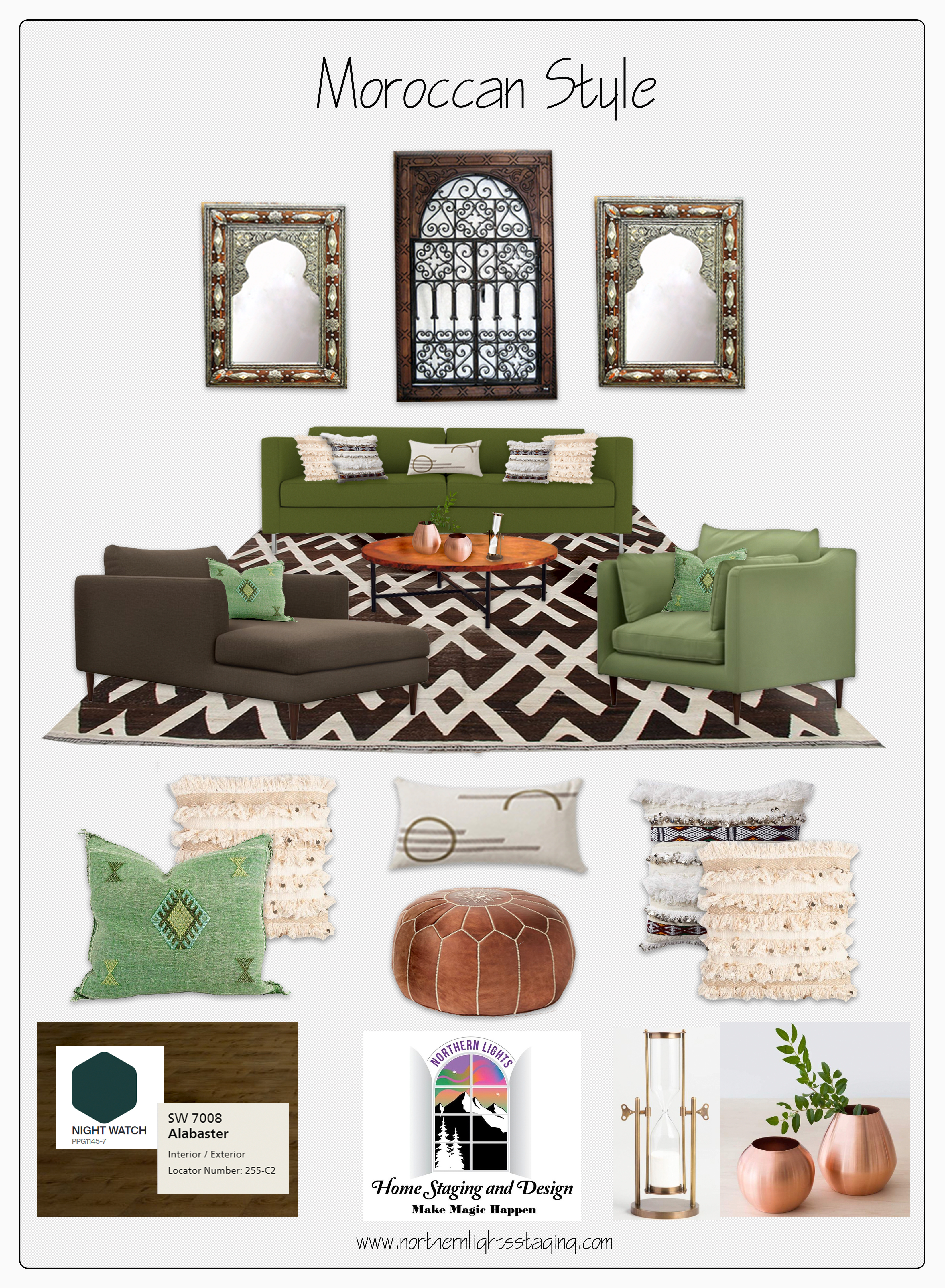 Moroccan Style Living Room Concept Board