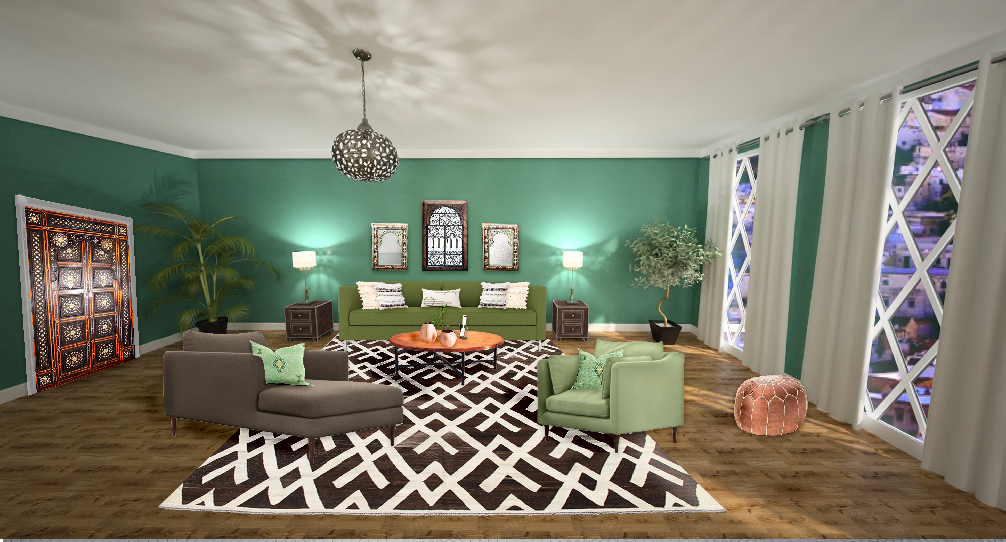 Moroccan style Living Room 3D render by Northern Lights Home Staging and Design. www.northernlightsstaging.com. #moroccan #kilimrug #bohemian #globalstyle #interiordesign