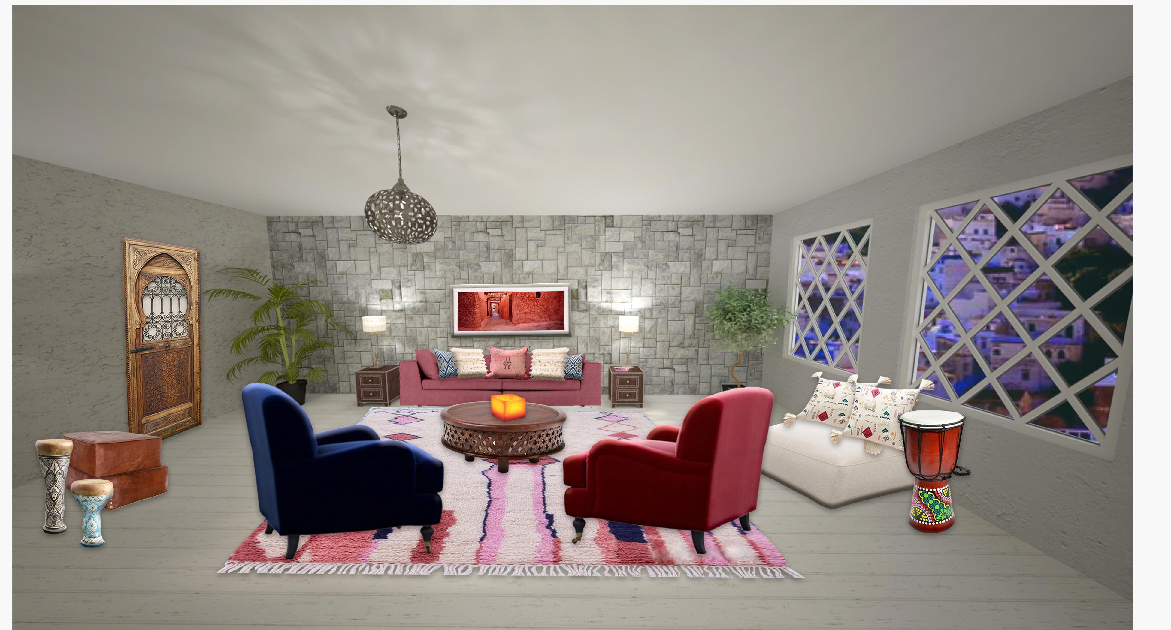 Moroccan Living room #globalstyle #moroccan #livingroom #azilalrug #atlasweavers #edesign