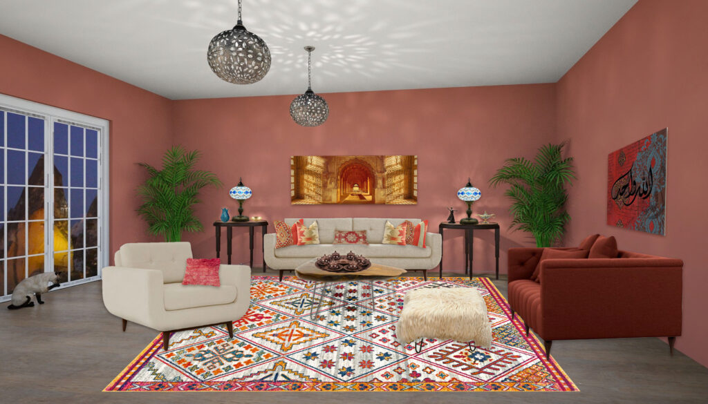 Turkish Style Living Room using Cavern Clay on the walls. EDesign by Mary Ann Benoit, Northern Lights Home Staging and Design. Edesign #color #colorconsulting #Interiordesign #edesign #bohemian #interiordecorating #paint #colors #homestyling #homedecor #homedesign #moderndecor #colorfuldecor #interiordecor #beautifulhomes #homeinspo #decorinspo #homeinspo #decorating #interiorstyle #homestyle #colorstrategy #colorconsultant #interiorpaintcolors #exteriorpaintcolors #paintingtips #colortips #interiorcolor #colorfuldecor #bohemian #global #99664