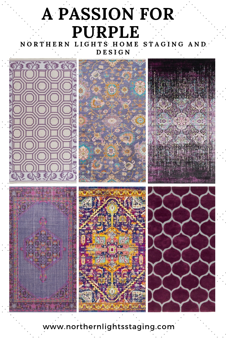 Beautiful purple rugs for Bohemian style design from one of my favorite sources, Boutique Rugs! #interiordesign #homedecor #purple #rugs #lavender #deeppurple