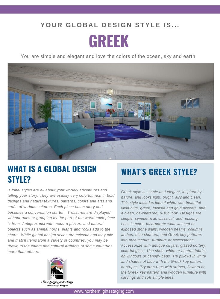 What's Your Global Design Style-Greek. Greek interiors aresimple and elegant and use the colors or the ocean, sky and earth. Try my full service edesign package. #globaldesign #greekInteriordesign #edesign #greekdecor#greekstyle