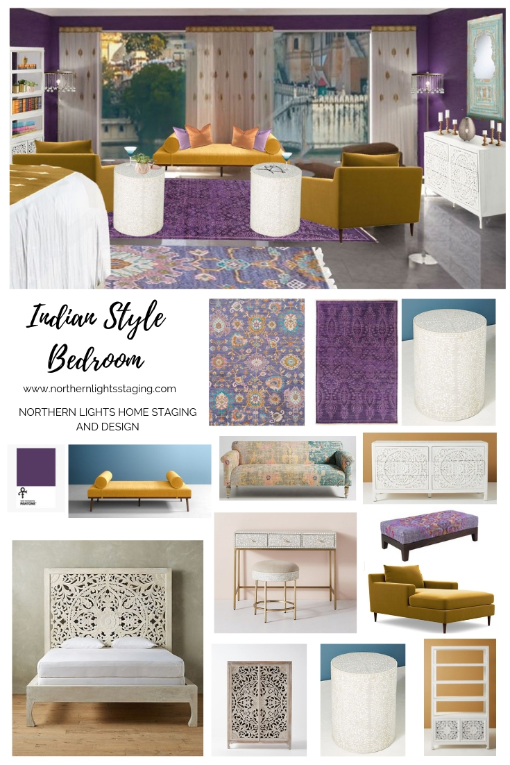 Get the Look-Indian Style Interior Design. Beautiful bedroom design incorporates the essence of Indian style design which is laid back, earthy, vibrant and luxurious. Love purple? This design uses Pantone's color Love Symbol #2, celebrating Prince. #globalstyle #interiordesign #Indianstyle #bohemian #globaldecor #furniture #bedroom #eco-friendly #interiordecorating #edesign #onlinedesign #homedecor #moderndesign
