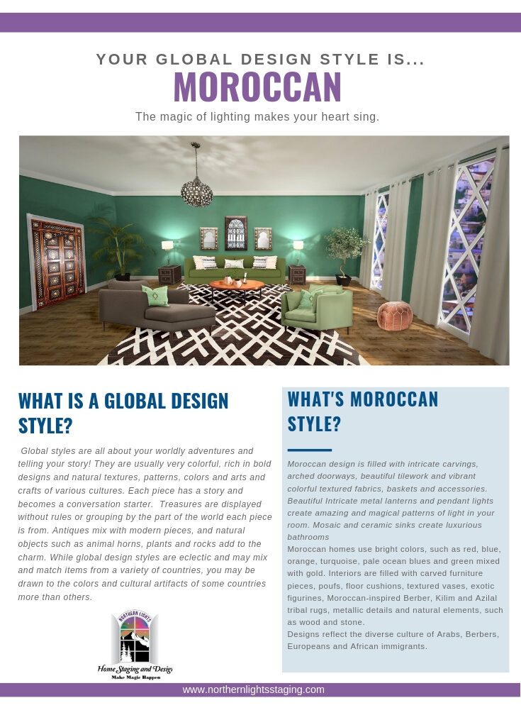 What is your global interior design style? Moroccan. Edesign of Moroccan style living room by Northern Lights Home Staging and Design.#globalstyle #interiordesign #moroccanstyle #bohemian #globaldecor #furniture #livingroom #eco-friendly #sustainabledesign #interiordecorating #edesign #onlinedesign #homedecor #moderndesigno-friendly #sustainabledesign #interiordecorating #edesign #onlinedesign #homedecor #moderndesign