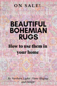 Beautiful Bohemian rugs and how to use them for Bohemian or modern global Interior Design. On sale, 60% off and free shipping through August 4, 2019. #interiordesign #bohemian #rugs