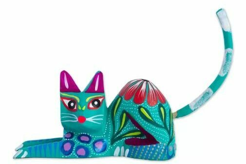 Colorful cat, made in Mexico