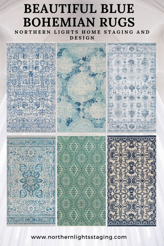 Beautiful blue rugs to use for Bohemian or modern global Interior Design #interiordesign #bohemian #rugs