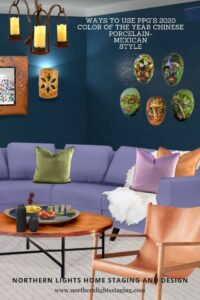 Ways to use PPGs 2020 color or the year, Chinese Porcelain. Try it with an eco-friendly, sustainable Mexican style living room. Before and after examples of an Edesign project by Northern Lights Home Staging and Design. Global Design Style-Mexican. Get the Look. Eco-friendly and sustainable Living room design by Northern Lights Home Staging and Design #globalstyle #interiordesign #mexicanstyle #bohemian #globaldecor #furniture #livingroom #eco-friendly #sustainabledesign #interiordecorating #edesign #onlinedesign #homedecor #moderndesign