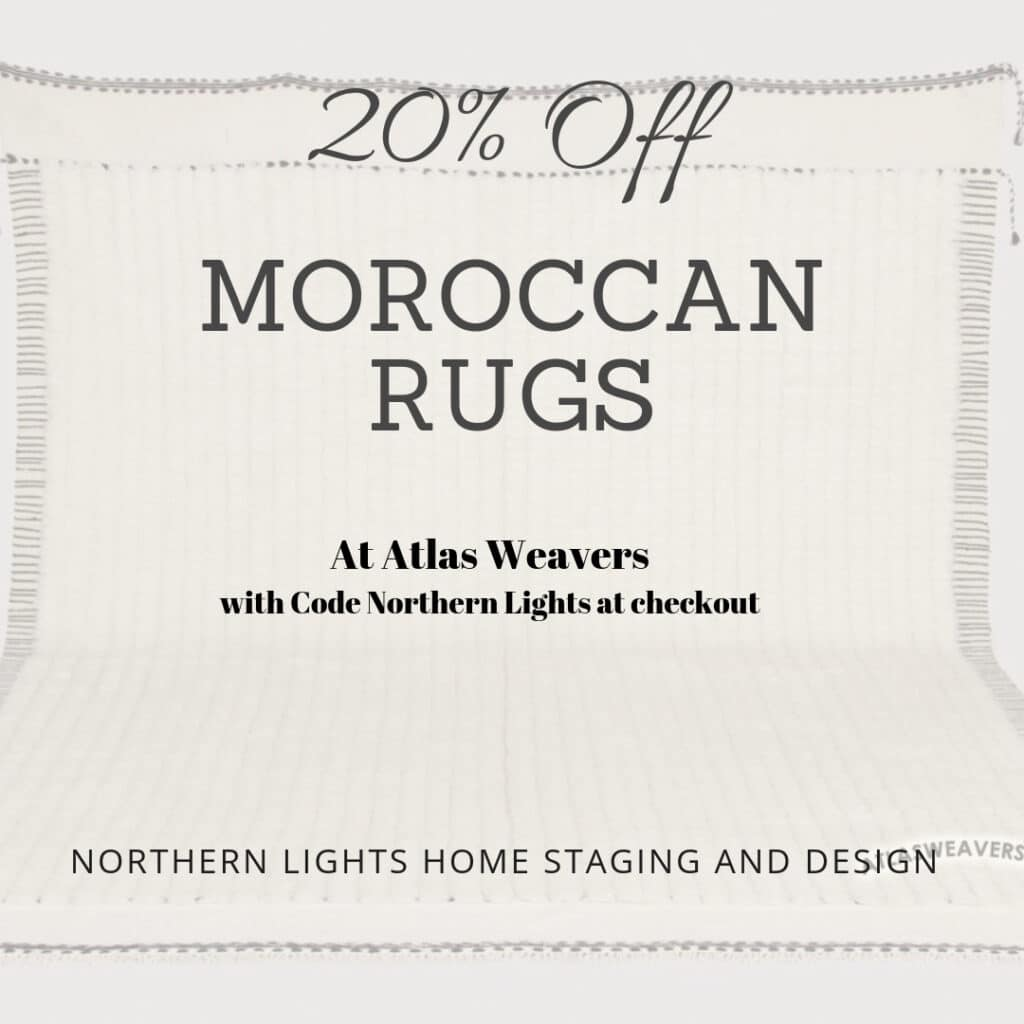 "Get 20% off any non-sale rug at Altas Weavers with code ""northern lights"" at check out."