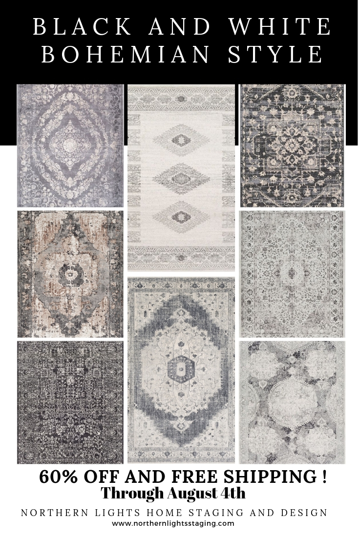 Add drama to your decor and the get the look of Bohemian style with these beautiful black and white rugs. 60% off and free shipping through Aug 4. #rugs #sale #bohemian #boho #globalstyle #moroccan #turkish #livingroom #homedecor #blackandwhite #virtualdesign #interiordesign #interiordecorating #affiliate