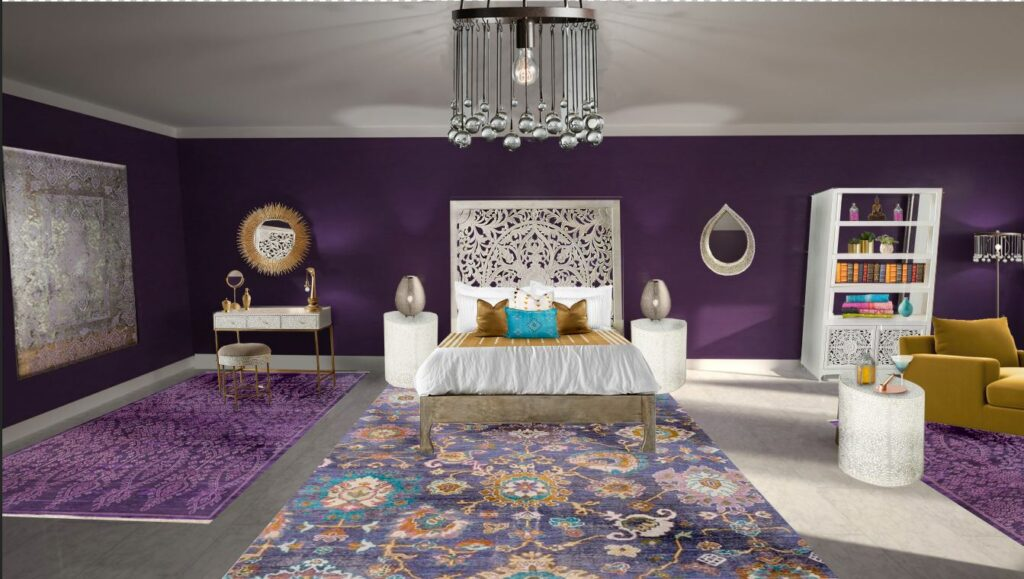 Global Design Style-Indian. Laid back, earthy, vibrant and luxurious. Indian design creates inviting, informal, relaxed spaces filled with bright colored hand spun fabrics with paisley patterns, floor cushions around colorful rugs, intricate mandala motifs and nature-inspired themes with flowers, birds, animals. Beautiful bedroom design by Northern Lights Home Staging and Design #globalstyle #interiordesign #mexicanstyle #bohemian #globaldecor #furniture #livingroom #eco-friendly #sustainabledesign #interiordecorating #edesign #onlinedesign #homedecor #moderndesigno-friendly #sustainabledesign #interiordecorating #edesign #onlinedesign #homedecor #moderndesign