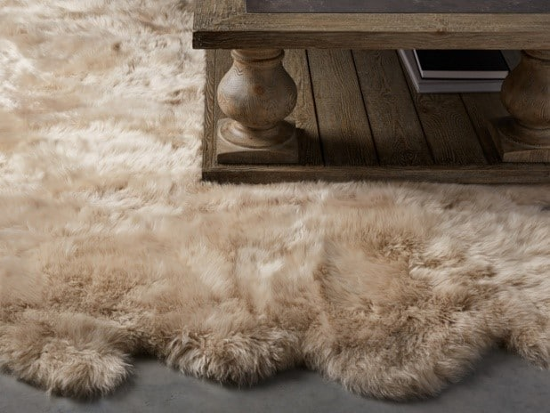 Sheepskin wool linen rug. Photo from Arhaus #affiliate