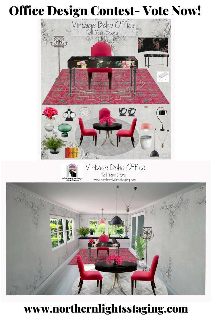 Edesign Tribe Office Design Contest- Vote now! Vintage Boho Office Design by Northern Lights Home Staging and Design #edesigntribe #edesign #vintage #vintageboho #officedesign #globalstyle #colorfuloffice