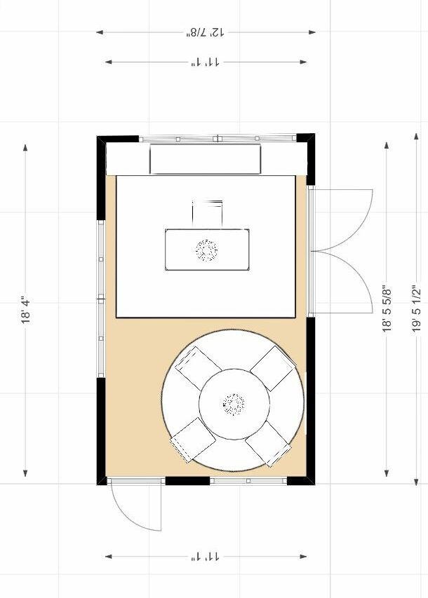 Edesign Tribe Office Design Contest- Vote now! Vintage Boho Office Floor Plan by Northern Lights Home Staging and Design #edesigntribe #edesign #vintage #vintageboho #officedesign #globalstyle #colorfuloffice