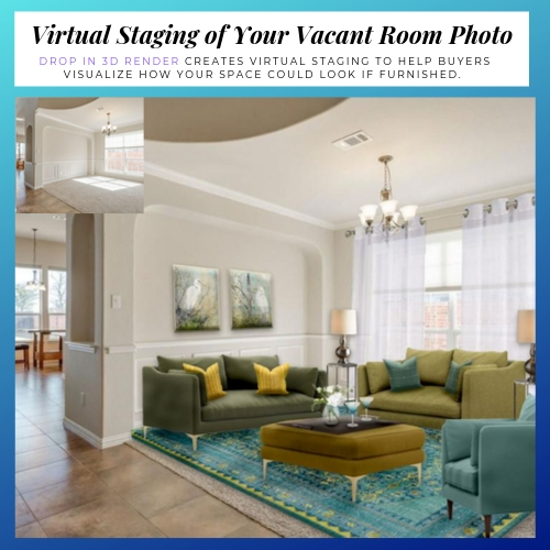 Drop In Render Example-Virtual Home Staging for Realtors and New Home Buyers by Northern Lights Home Staging and Design