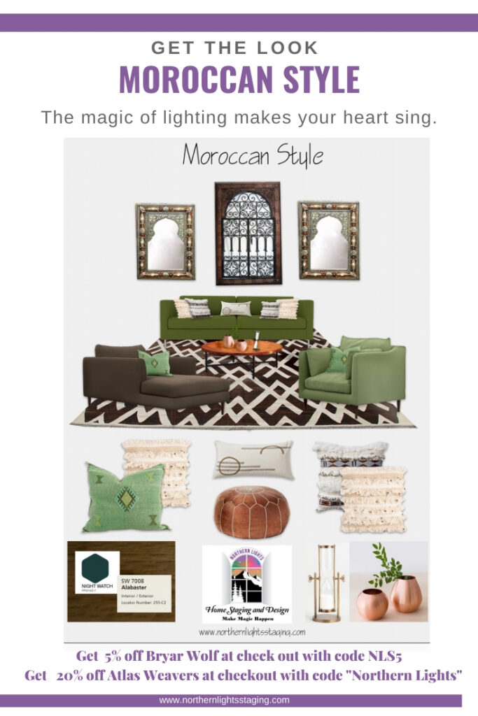 Get the Look- Moroccan Style Interior Design. #moroccan #edesign #interiordesign #livingroom #globalstyle #modernstyle #colorfuldecor #ethnicdesign #homedecor #decor #decorating #bohemian
