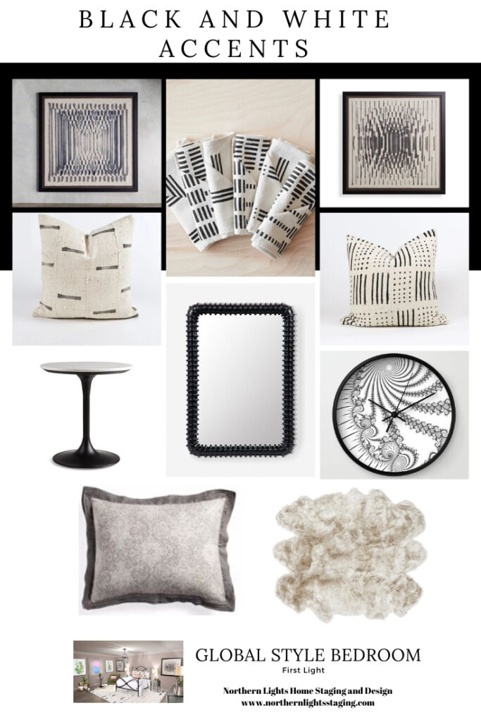 Ways to use Benjamin Moore's 2020 color of the year - First Light, even if you do not like the color. Global Style Master Bedroom Edesign, Online Interior Design. #edesign #onlinedesign #firstlight #benjaminmoore #coloroftheyear #colorconsulting #colorstrategist #masterbedroom #globalstyle #bohemian