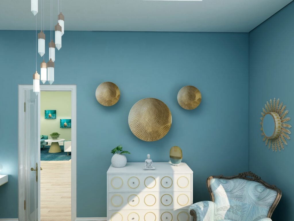 Using Benjamin Moore's 2021 Color of the Year Aegean Teal by NOrthern Lights Home Staging and Design