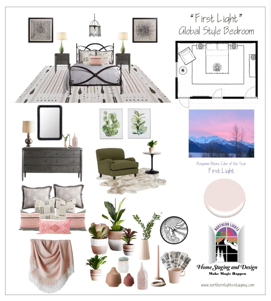 Ways to Use Benjamin Moore's 2020 Color of the Year- First Light even if you don't like the color. Global style master bedroom Edesign, online Interior Design. #edesign #onlinedesign #firstlight #benjaminmoore #coloroftheyear #colorconsulting #colorstrategist #masterbedroom #globalstyle #bohemian