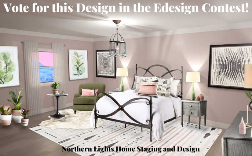 Vote for this Design in the Edesign Contest.Ways to Use Benjamin Moore's 2020 Color of the Year- First Light even if you don't like the color. Global style master bedroom Edesign, online Interior Design. #edesign #onlinedesign #firstlight #benjaminmoore #coloroftheyear #colorconsulting #colorstrategist #masterbedroom #globalstyle #bohemian