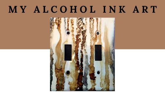 Alcohol ink home decor by Northern Lights Home Staging and Design. Art, switch plates, bowls, trivets and more.