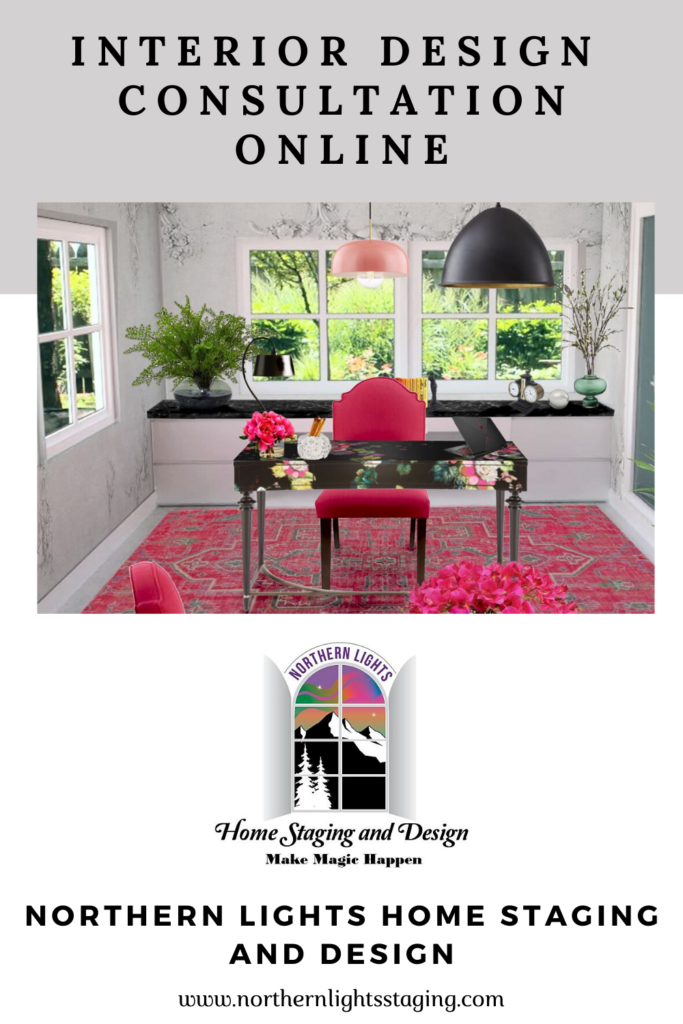 Local and online Interior design, color, home staging and social media marketing services of Northern Lights Home Staging and Design.