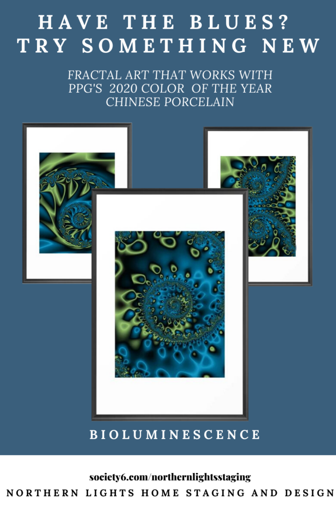 Fractal Art to go with PPG's 2020 color of the year, Chinese Porcelain.