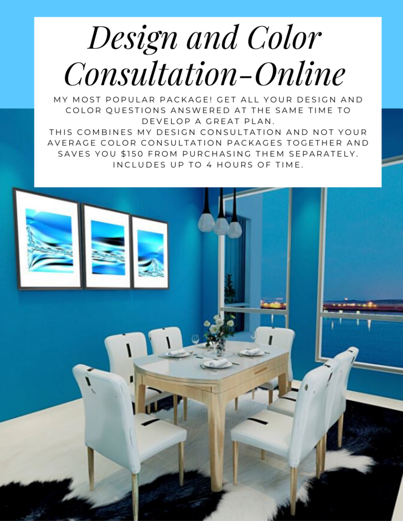 Design and Color Consultation- On Site. Northern Lights Home Staging and Design. My most popular package! Get all your design and color questions answered at the same time to develop a great plan. This combines my Design consultation and not your average color consultation packages together and saves you $150 from purchasing them separately. Includes up to 4 hours of time.