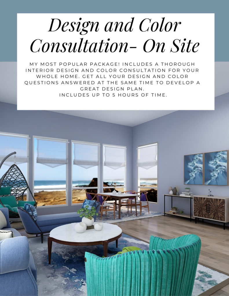 Design and Color Consultation- On Site. Northern Lights Home Staging and Design. My most popular package! Includes a thorough Interior Design and Color Consultation for your whole home. Get all your design and color questions answered at the same time to develop a great Design plan. Includes up to 5 hours of time.