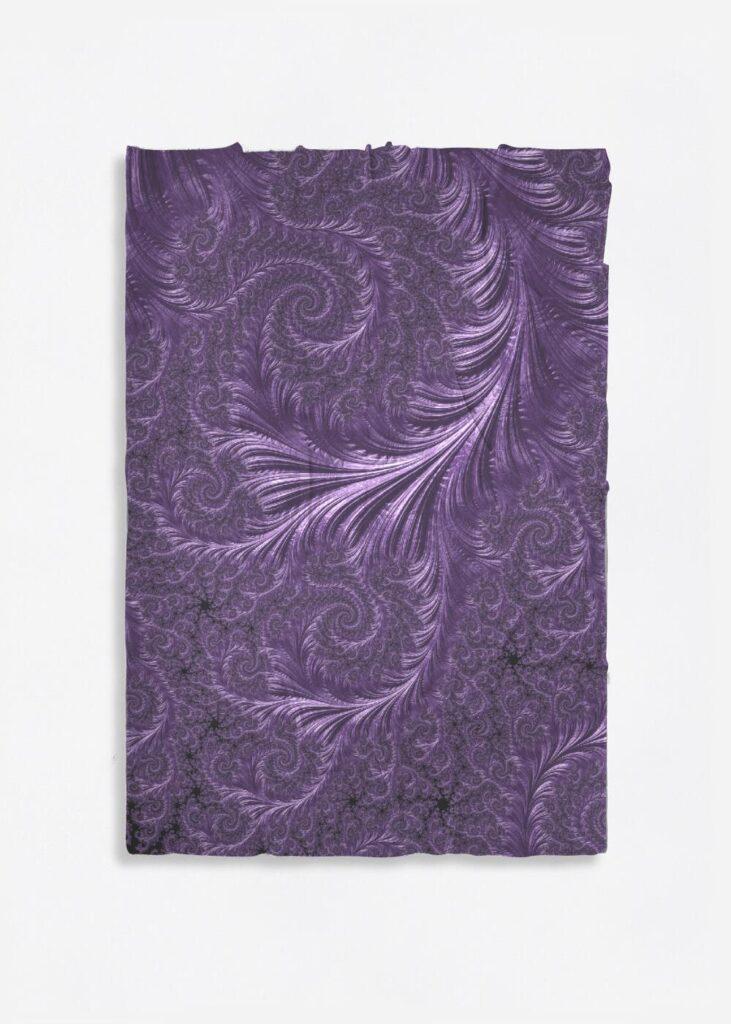 Deep Purple Floreo Merino Wool Fractal Art Scarf
