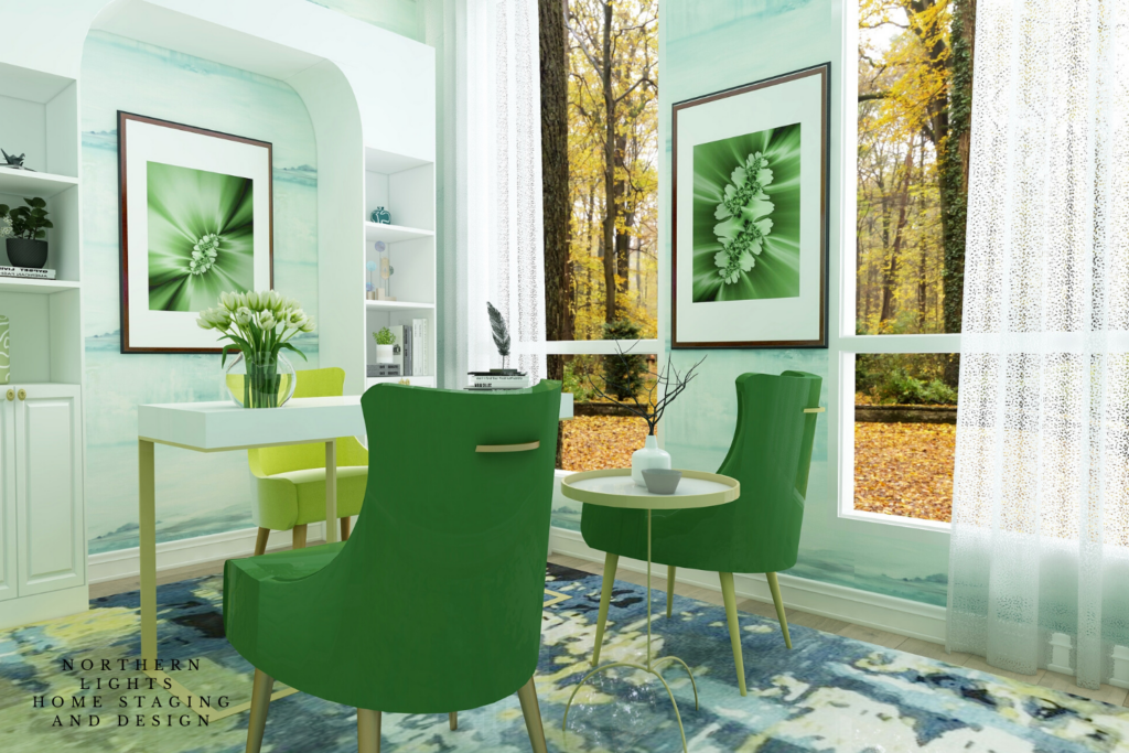 Stress Free Office Edesign Virtual Background by Northern Lights Home Staging and Design for download. 1500 x 1000 pixels
