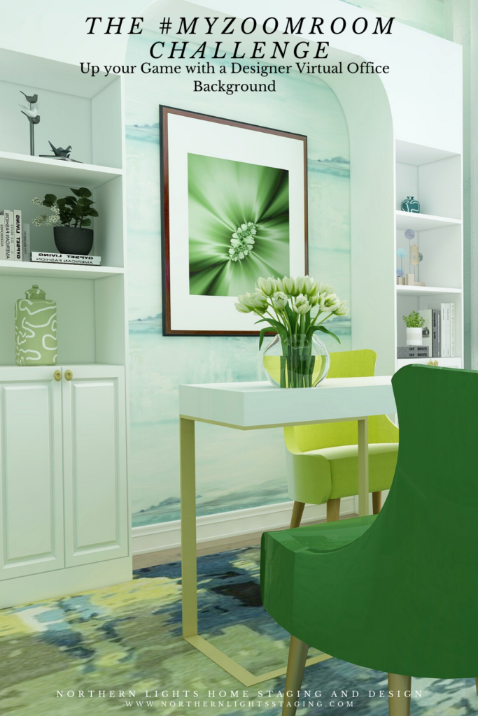 The #MYZOOMROOM Challenge by the Edesign Tribe. Download your beautiful office virtual background for Zoom by Northern Lights Home Staging and Design