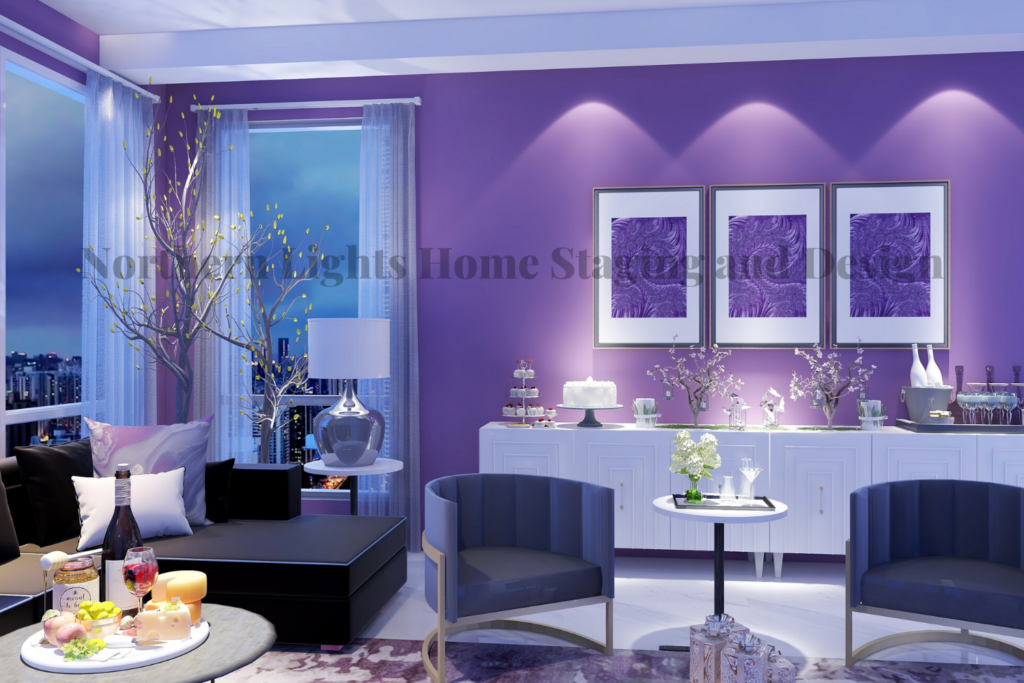 Modern Global Style Living Room- Elegant Birthday Party Virtual Background with Custom Fractal Art by Northern Lights Home Staging and Design.